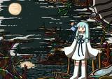 夜のサンゴ島と葵ちゃん