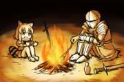 焚火してるおじさんとアライさん
