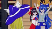 【Blender】ごきげん神社【東方GIF】