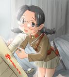 操作棒保護の為防護被覆を装着する娘