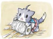 トイレットペーパーをダメにする酒匂猫