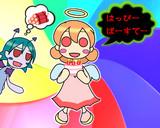 【エンジェルンとデビルン】絵描き仲間の誕おめ絵(˘ᗜ˘*)