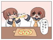 ピザを食べる雷電