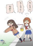 ちーちゃんの散歩をするあゆちゃん