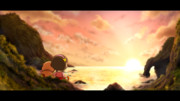 沈む夕日…『超人』と『一匹の犬』
