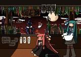 影のバーで酔いつぶれちゃった茜ちゃんと心配する葵ちゃん