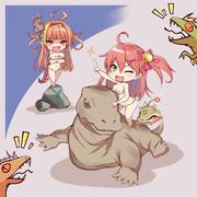 みこちゃんと後方腕組ドラゴン。