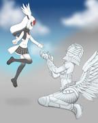 人間の形をした鶴、鶴の形をした人間