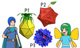 多面体のフルーツ、少年戦士、妖精