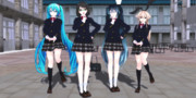 【VRMMD】360°テスト動画【どっと式&Sour式制服ミク&制服しましま(霧島・島風)】