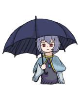 雨に降られるどらしろくん