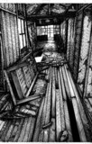 廃墟 モノクロ線画