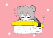 おねんねするちびたまごと卵寿司くん
