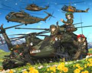 空挺戦車と花畑