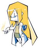 カクカクコーヒー片手にタバコ吸う白衣先生系女子