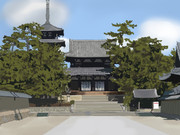 法隆寺を描いてみた