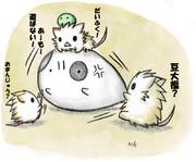 ネズミちゃん達に絡まれるウシガエルちゃん