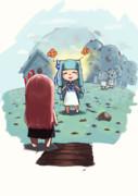 葵ちゃん傑作のチョコミン島にあそびに来た茜ちゃん