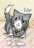 皿を落としちゃった羽黒猫