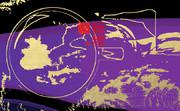 「珈琲 100」※線画・金色・背景紫色・おむ08907