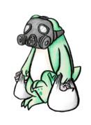 防毒マスクをするカエル