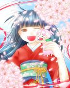 着物と女の子と桜の精と