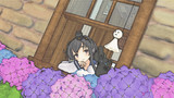 梅雨の少女と紫陽花