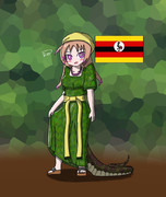 ウガンダのゴメスを着たアフリカニシキヘビさん