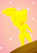 黄金の玉子寿司くんを持ち上げる黄金のちびゆで卵
