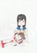 膝枕をする人吉青井と阿蘇ほむら