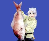 鯛を釣り上げた釣りキチおばさんBB