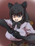 一撃でシューティングウルフをこじ開けるブラックジャガー(ゴリラ)