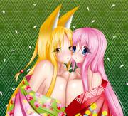狐&ピンク【和服】