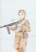 鹵獲装備を使用する赤軍兵士