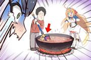 キャルの魔導書でスープをかき混ぜる大泉洋
