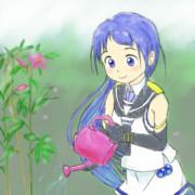 花に水やる五月雨ちゃん