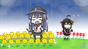 どうぶつたちが住む島中の花に水やりを終えた途端、雨が降ってきて