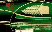 「お茶と甘味 11」※線画・金色・背景緑色・おむ08929