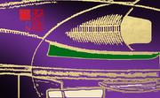 「お茶と甘味 11」※線画・金色・背景紫色・おむ08931