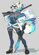 カラフル武装白髪ケモミミ