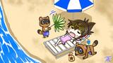 どうぶつたちが住む島でのんびりするレディの