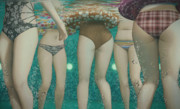 プールの水中の尻