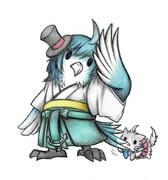 松風フクロウと酒匂猫