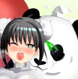 パンダに会えて大喜びの秦良玉さん