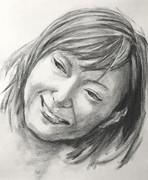笑顔の女性 木炭デッサン