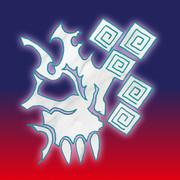 【フリーアイコン】トライバル(髑髏)×雷門風幾何学