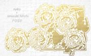 「薔薇」※線画・二重線・金色・背景銀色・おむ08945