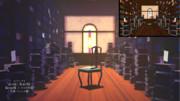 ステンドグラスと本棚部屋