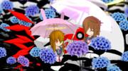 【とある梅雨の日ver5】アジサイを鑑賞する電達【02鎮守府の日常】