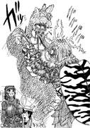 超有名二大怪獣の対決を見守るかばんちゃんとヤギ